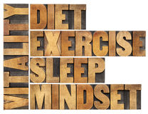 Diet, sleep, exercise and mindset - vitality Royalty Free Stock Photo