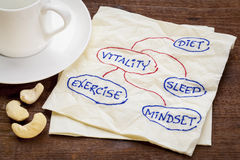 Diet, sleep, exercise and mindset - vitality. Concept - a sketch on a napkin with cup of coffee royalty free stock photos