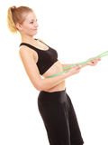 Diet. slim blonde girl with measure tape measuring waist Stock Images