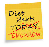 Diet starts today tomorrow note white background Royalty Free Stock Image