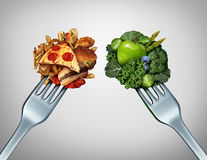 Diet Struggle. And decision concept and nutrition choices dilemma between healthy good fresh fruit and vegetables or greasy cholesterol rich fast food with two vector illustration