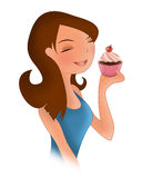 Diet temptation. A girl on a diet with a temptation for a chocolate and cream cup cake Royalty Free Stock Photos