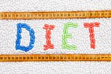 Diet text made of drugs with centimeter Stock Photos
