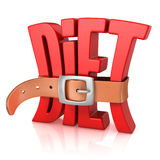 Diet with tighten belt 3d concept Stock Photo