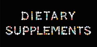 Diet-tilläggpreventivpillerbokstäver vektor illustrationer