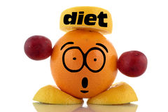 Diet time. Funny fruit character. Stock Images