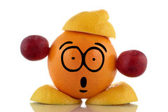 Diet time. Funny fruit character. Royalty Free Stock Photography
