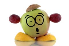 Diet time. Funny fruit character. Stock Photography