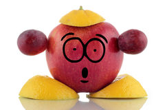 Diet time. Funny fruit character. Stock Image