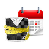 Diet time icon. Bathroom scales with measure tape and calendar with marked day Royalty Free Stock Image