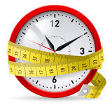 Diet with time limit. Clock with measuring tape as concept of diet with time limit royalty free illustration