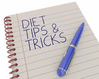 Diet Tips Tricks Notepad Pen Writing Words. 3d Illustration Royalty Free Stock Photos