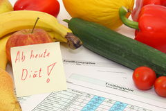 Diet and training. Fruits and vegetables with nutritional and training protocols and the german note as from today diet Royalty Free Stock Photos