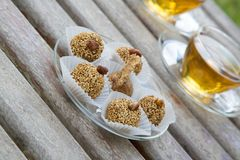 Diet truffles with dried fruits AND NUTS Royalty Free Stock Photo