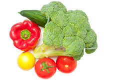 Diet vegetables. Bunch of diet vegetables isolated on white Royalty Free Stock Photos