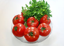 Diet vegetables tomatoes and parsley Royalty Free Stock Image