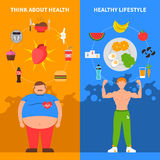 Diet Vertical Banners. Diet vertical flat banners with fat man young athlete healthy lifestyle icons and junk food set vector illustration Royalty Free Stock Images