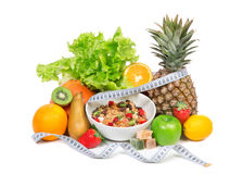 Diet weight loss breakfast concept with tape measure Stock Photos