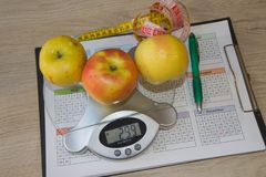 Diet weight loss breakfast concept with tape measure, Libra. Diet and nutrition Royalty Free Stock Image