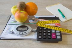 Diet weight loss breakfast concept with tape measure, Libra. Diet and nutrition Royalty Free Stock Photography