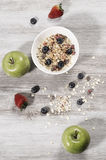 Diet weight loss breakfast, healthy life concept with home made muesli with fresh fruits Stock Photography