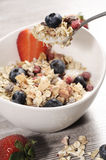 Diet weight loss breakfast, healthy life concept with home made muesli with fresh fruits Stock Photos