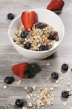 Diet weight loss breakfast, healthy life concept with home made muesli with fresh fruits Stock Images