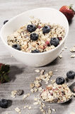 Diet weight loss breakfast, healthy life concept with home made muesli with fresh fruits Stock Photo