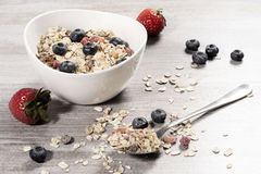 Diet weight loss breakfast, healthy life concept with home made muesli with fresh fruits Stock Image