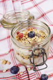 Diet weight loss breakfast, healthy life concept with home made muesli with fresh fruits Royalty Free Stock Image