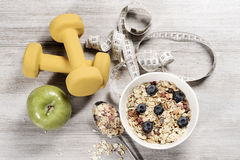 Diet weight loss breakfast, healthy life concept with home made muesli with fresh fruits Royalty Free Stock Images