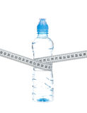 Diet bottle of drinking water and tape measure Stock Photo