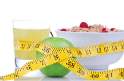 Diet weight loss concept with tape measure Stock Photography
