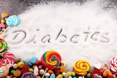 Diet and weight loss, denial of sweet. diabetes text with concept. Sugar description in black. sweets. Diabetes problems, harm. From eating, dependence on royalty free stock images