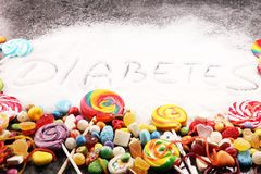 Diet and weight loss, denial of sweet. diabetes text with concept. Sugar description in black. sweets. Diabetes problems, harm. From eating, dependence on stock photography