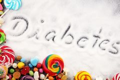 Diet and weight loss, denial of sweet. diabetes text with concept. Sugar description in black. sweets. Diabetes problems, harm. From eating, dependence on stock photo