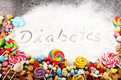 Diet and weight loss, denial of sweet. diabetes text with concept. Sugar description in black. sweets. Diabetes problems, harm. Diet and weight loss, denial of stock images