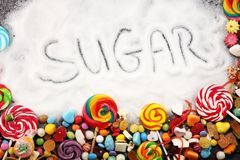 Diet and weight loss, denial of sweet. sugar text with concept. Sugar description in black. sweets. Diabetes problems, harm from. Eating, dependence on stock photo
