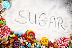Diet and weight loss, denial of sweet. sugar text with concept. Sugar description in black. sweets. Diabetes problems, harm from. Eating, dependence on royalty free stock image