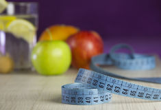 Diet for weight loss with fresh fruits Stock Images