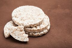 Diet for weight loss, healthy puffed corn galettes stock photography