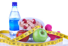 Diet weight loss, workout, measure healthy food Stock Images