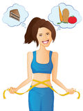 Diet Woman. Cute girl measuring her waist and deciding between chocolate or salad Royalty Free Stock Images