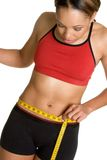 Diet Woman. Black diet woman measuring waist Royalty Free Stock Images