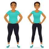 Before and after diet woman. Fat and slim woman, before and after weight loss in sportswear isolated Stock Image
