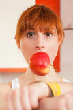 Diet - woman gagged and handcuffed Royalty Free Stock Photo