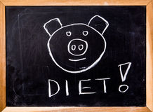 Diet word on black board Royalty Free Stock Images