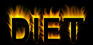 Diet word in fire. Background Stock Photo