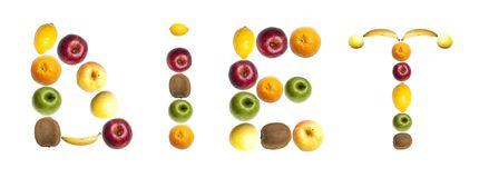 Diet word made of fruits. Diet word made of mixed fruits Royalty Free Stock Photography