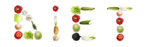Diet word made of vegetables Royalty Free Stock Photography